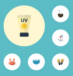flat icons cancer fly anti-sun cream and other vector image vector image
