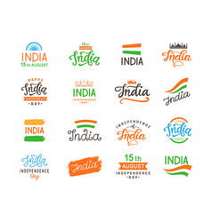 India independence day handmade lettering set vector