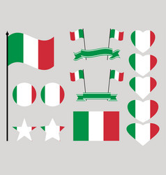 italy flag set collection of symbols heart vector image vector image