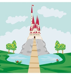 Landscape with old castle on the rock vector