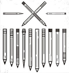 Outline pencils clip art set vector