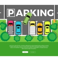 Parking Top View Web Banner in Flat Design vector image vector image