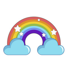Rainbow with clouds icon cartoon style vector
