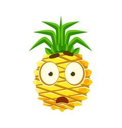 Scared pineapple face cute cartoon emoji vector