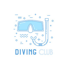 Scuba diving line art with mask vector