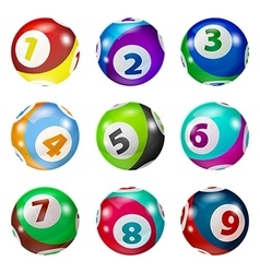Set of lottery colored number balls vector