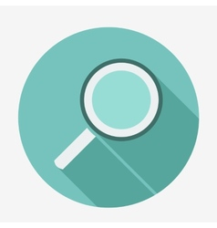 Single flat magnifying glass icon with long shadow vector image vector image