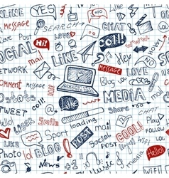 Social Media WordIcon seamless patternDoodle vector image