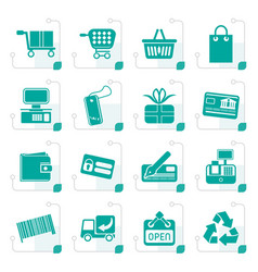 stylized simple online shop icons vector image vector image