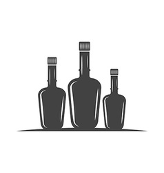 Three bottles with cork Black icon logo element vector image