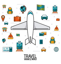Travel around the world airplane vehicles vector