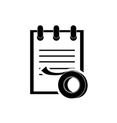 Notepad and tape roll icon vector