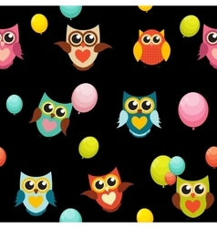 Cute Owl Seamless Pattern Background vector image