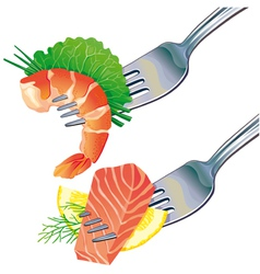 Seafood on fork vector