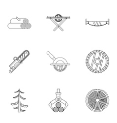 Cleaver icons set outline style vector