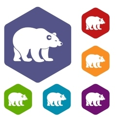 Bear icons set vector