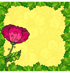 poppy flowers greeting card template vector image