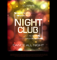 Neon sign night club disco party poster vector