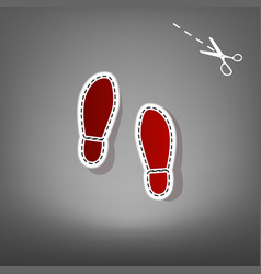 imprint soles shoes sign  red icon with vector image
