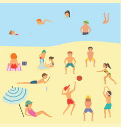 People relaxing on the beach vector