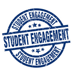 Student engagement blue round grunge stamp vector