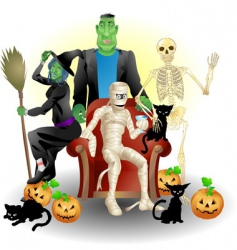 Halloween group vector image