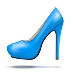 Blue bright modern high heels pump woman shoes vector