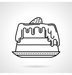 Strawberry cake black line icon vector