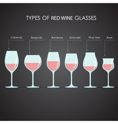 Types of red wine glasses vector