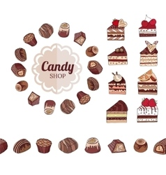 Different chocolate candies and slices of cake on vector