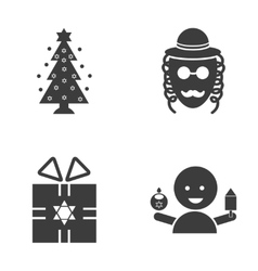 Set of flat icon in black and white style hanukkah vector