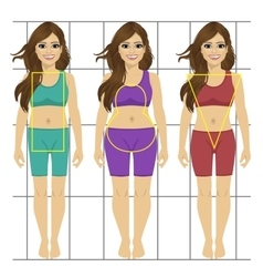 Different women s figures three female body types vector