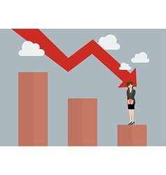 Bar graph down with desperate business woman vector image
