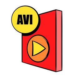 Avi file icon cartoon vector