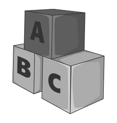 Baby cubes icon gray monochrome style vector