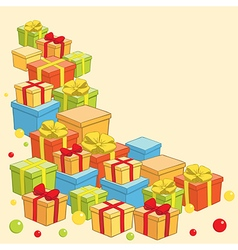 background with boxes of gifts - holiday vector image