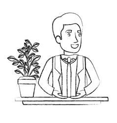 Blurred silhouette half body man assistant in desk vector