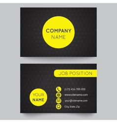 Business card template yellow and black pattern vector image