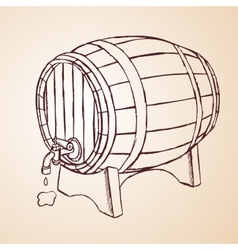 cask of wine hand drawn vector image
