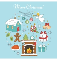 Christmas and New Year holiday icons set vector image vector image
