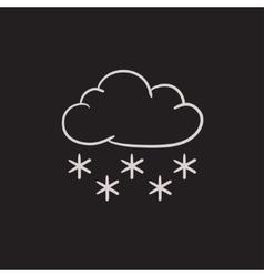 Cloud with snow sketch icon vector image
