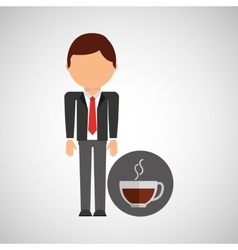 cup coffee business man suit worker icon vector image vector image
