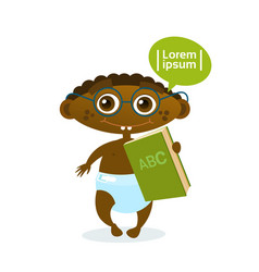 cute african american baby boy holding book vector image