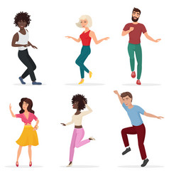dancing young people happy multi ethic men and vector image