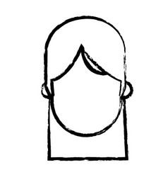 Faceless head girl people sketch vector