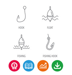 Fishing hook and float icons vector