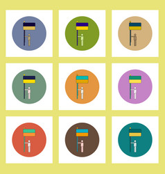 Flat icons set of ukrainian independence day vector