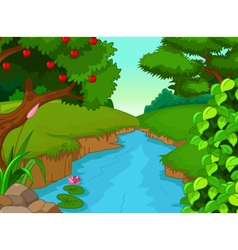 Forest with river for you design vector