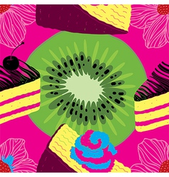 Fresh Seamless Fruit Futuristic Pattern vector image vector image