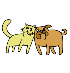 friendship of a cat and a dog vector image vector image